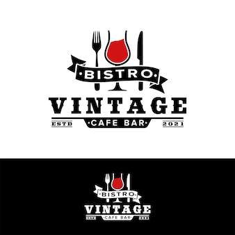 Vintage restaurant wijnglas mes vork logo inspiratie Premium Vector