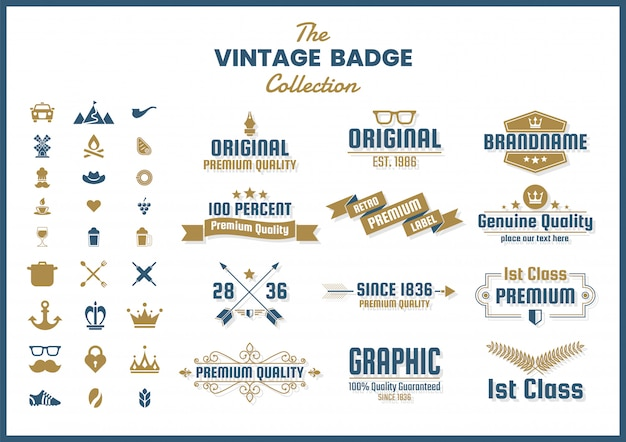 Vintage retro badge, embleem en icon set collectie