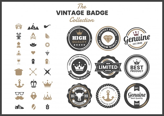 Vintage retro badge set