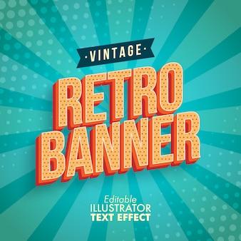Vintage retro banner bewerkbare vector tekst effect