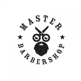 Vintage retro barbershop embleem logo premium