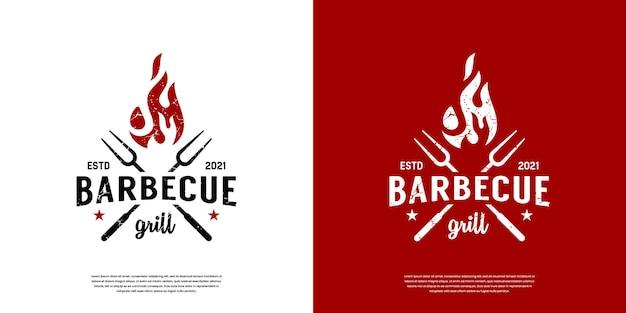Vintage retro bbq-grill, label stempel logo ontwerp