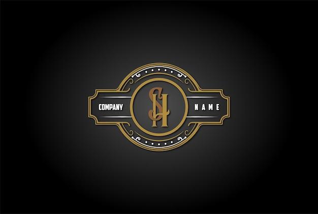 Vintage retro beginletter sh hs logo ontwerp vector