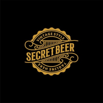 Vintage retro bier label logo ontwerp