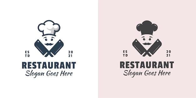 Vintage retro chef-kok met slagerij icoon voor het koken van vlees restaurant logo sjabloon