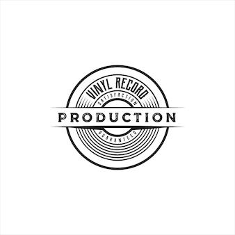 Vintage retro embleem, stempel, label, sticker en badge vinyl record logo met lijn kunststijl