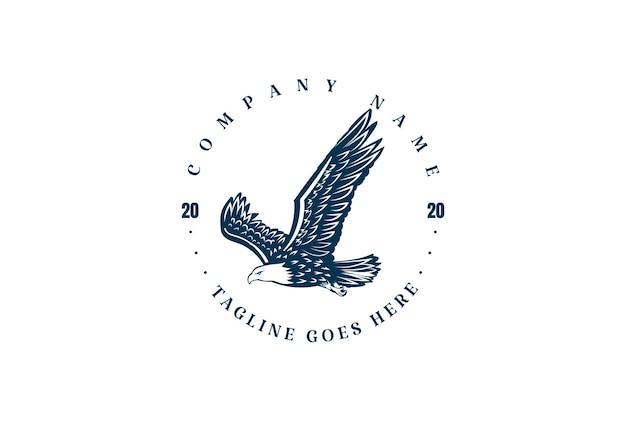 Vintage retro flying eagle falcon hawk badge embleem label logo design vector