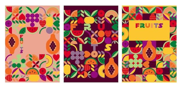 Vintage retro fruit vector covers set abstracte geometrische vorm ornament