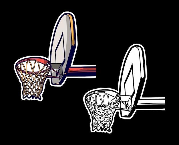 Vintage retro gekleurde illustratie van basketbalhoepel en zwart wit