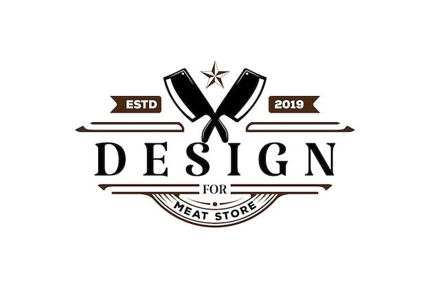Vintage retro gekruiste hakmes voor slager vlees winkel of bbq barbecue steak grill logo ontwerp vector