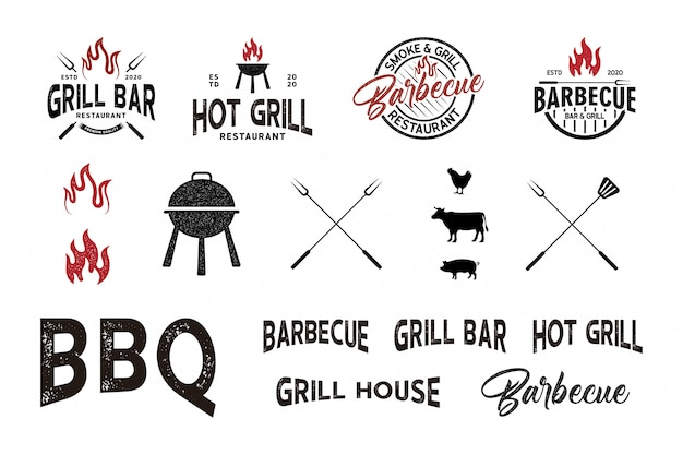 Vintage retro getextureerde bbq-grill, barbecue logo-element