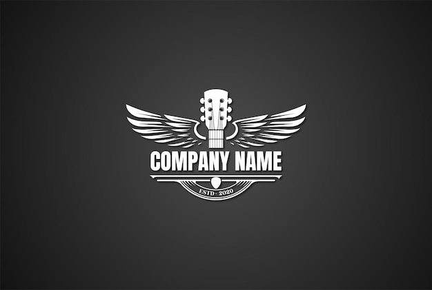 Vintage retro gitaar vleugels vleugels muziek logo ontwerp vector