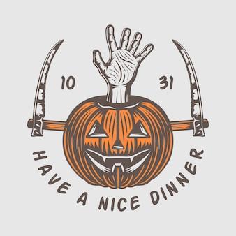 Vintage retro halloween logo embleem badge label mark patche monochrome grafische kunst