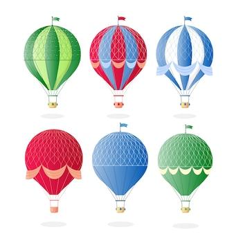 Vintage retro hete luchtballon met mand in de lucht