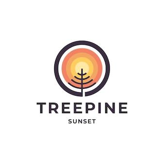 Vintage retro hipster dennenboom groenblijvend met zonsondergang logo ontwerp vector