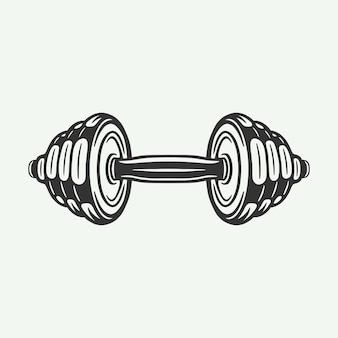 Vintage retro houtsnede gravure gym fitness dumbbell