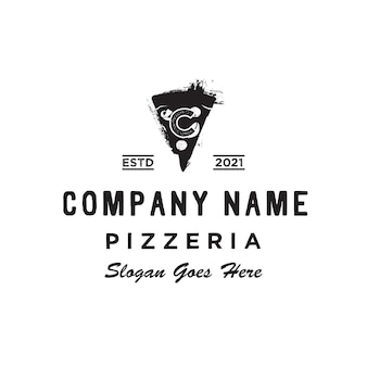 Vintage retro italiaanse pizza slices pizzeria initial c logo ontwerp inspiratie