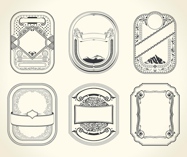 Vintage retro kaarten en designframes
