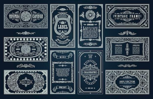 Vintage retro-kaarten en kalligrafische kaders