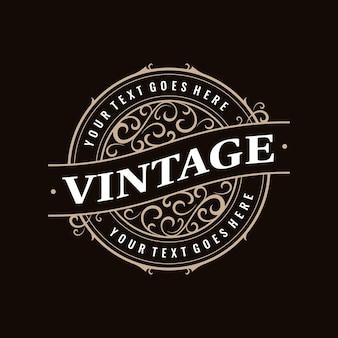 Vintage retro klassiek rond stempellabel rond badge-logo met sierlijk frame