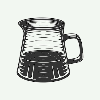 Vintage retro koffie amerikaanse waterkoker kan worden gebruikt voor logo embleem badge poster