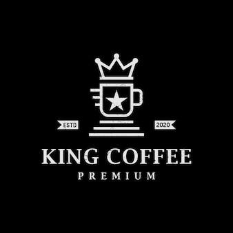 Vintage retro koning koffie logo ontwerp