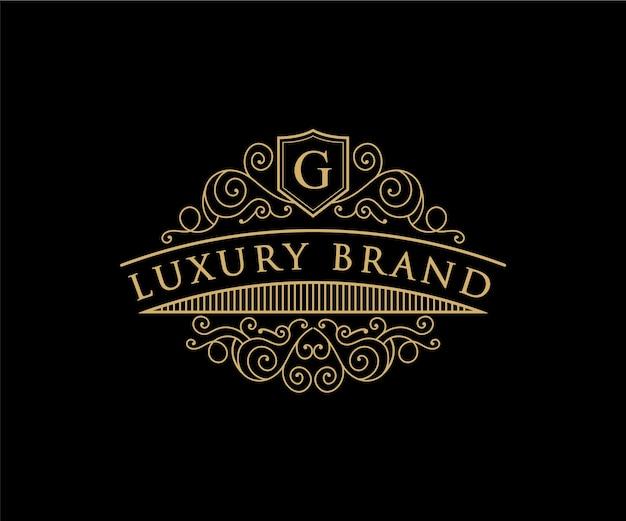 Vintage retro luxe victoriaans kalligrafisch embleem heraldisch logo met kroon en sierlijst and