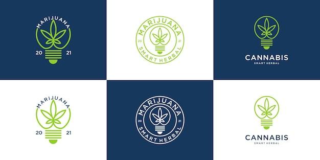 Vintage retro marihuana-logo met gloeilampontwerp