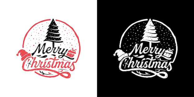 Vintage retro merry christmas badge logo stempel ontwerpsjabloon inspiratie