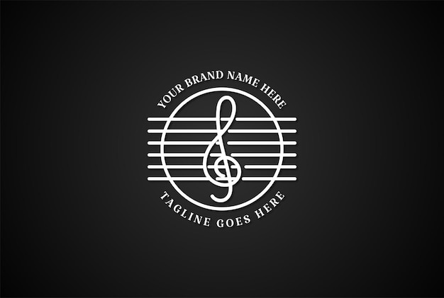 Vintage retro muzieknoten en gitaar string logo design vector