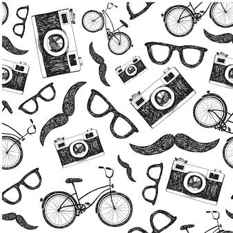 Vintage, retro naadloze hipster achtergrond met fietsen, camera's en glazen