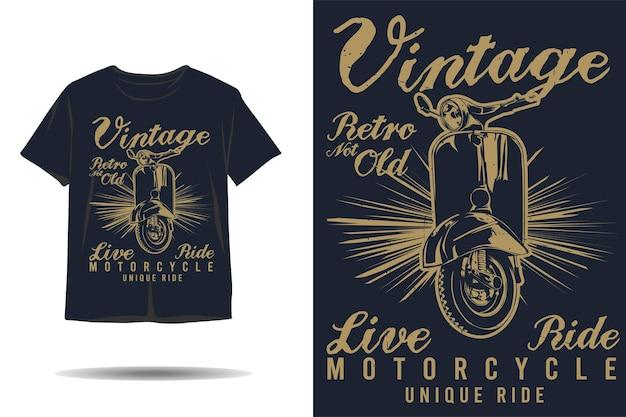 Vintage retro niet oud live rit motorfiets uniek rit silhouet tshirt ontwerp
