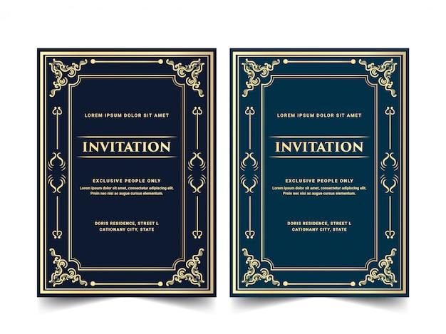 Vintage retro oude victoriaanse koninklijke en luxe set uitnodigingskaart voor bruiloft verjaardag verjaardag partij viering kaartsjabloon