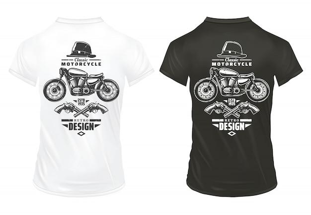 Vintage retro print ontwerpsjabloon met inscripties klassieke motorfiets gentleman hat gekruiste pistolen op shirts geïsoleerd