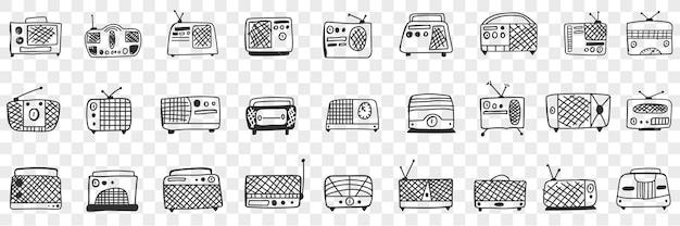Vintage retro radio bandrecorder doodle set illustratie