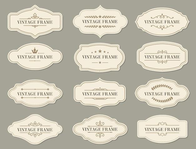 Vintage retro randen en frames, vectorlabels en sierlijke banners. vintage frames en certificaat ornament met bloemen filigraan voor menu of bruiloft wenskaarten met koninklijke kroon en sterren