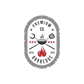 Vintage retro rustieke bbq-grill, barbecue, barbecue label stempel logo ontwerp vector
