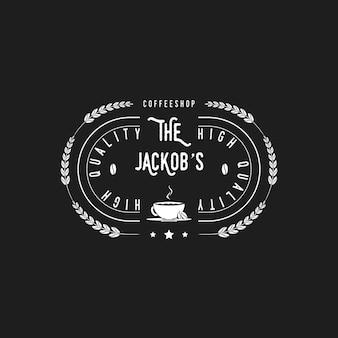 Vintage retro silhouet coffeeshop embleem label badge stempel logo met koffiebonen en