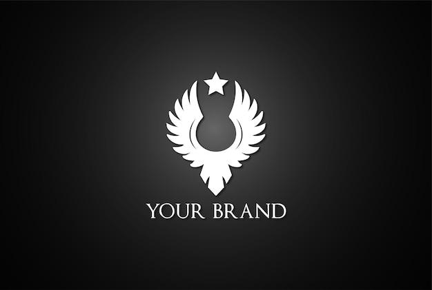 Vintage retro simple eagle hawk falcon phoenix wing bird badge embleem logo design vector