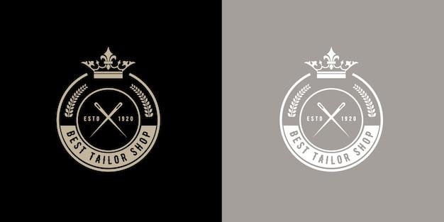 Vintage retro stijl ronde monogram logobadge voor handgemaakte maatpak op maat atelier of naaiwinkel vintage retro stijl ronde logo logobadge voor handgemaakte kleermaker atelier of naaiwinkel premium