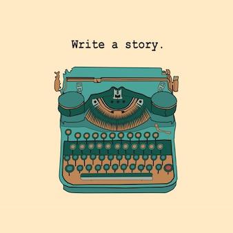 Vintage retro typemachine geïnspireerde vertellers, schrijvers, scenarioschrijvers en creatieve mensen