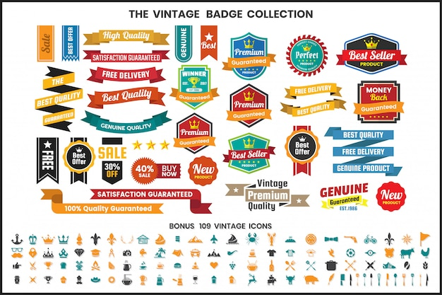 Vintage retro vector linten en pictogrammen