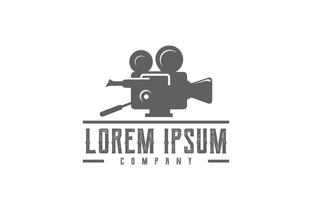 Vintage retro videocamera voor productie logo design vector