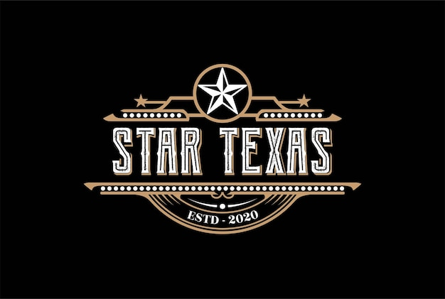 Vintage retro western country embleem texas star voor bar saloon logo design vector