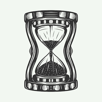 Vintage retro zandloper horloges kan worden gebruikt als embleem logo badge label