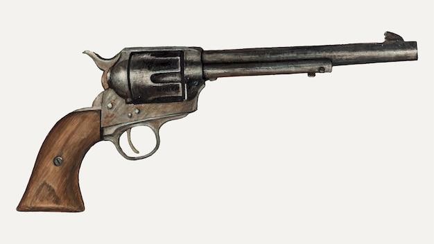 Vintage revolver pistool vectorillustratie, geremixt van het kunstwerk door elizabeth johnson