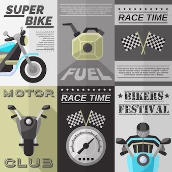 Vintage rider poster set