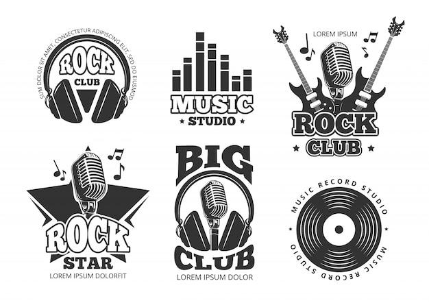 Vintage rock en roll muziek vector labels, emblemen, insignes, sticker met gitaar en spreker silhouetten. rock muziek embleem, retro vintage rock en roll label illustratie
