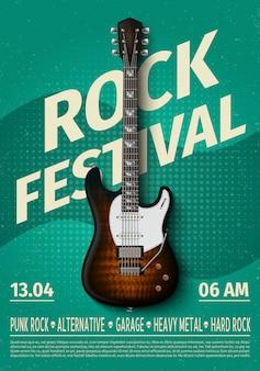 Vintage rockfestival flyer met elektrische gitaar