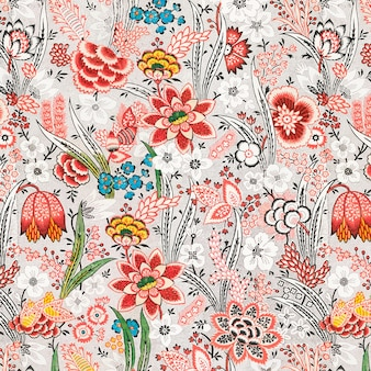Vintage rode bloemmotief achtergrond Gratis Vector